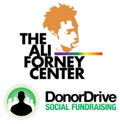 DonorDrive Social Fundraising Software Logo and Ali Forney Center Logo