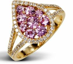 Lavender Embrace - 18k rose gold and diamonds set this pink sapphire ring