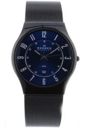 Skagen Men's Blue Dial Black IP Stainless Steel