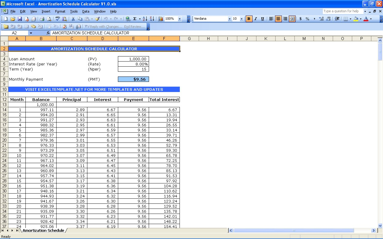 auto loan payment schedule excel