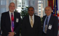 Briefings have been held at locations including the National Science Foundation; above, NSF Director Subra Suresh (center) with SPIE representatives Eugene Arthurs (left) and Paul McManamon (right).