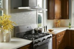 Contemporary Kitchen Backsplash - Iridescent Glass Tiles