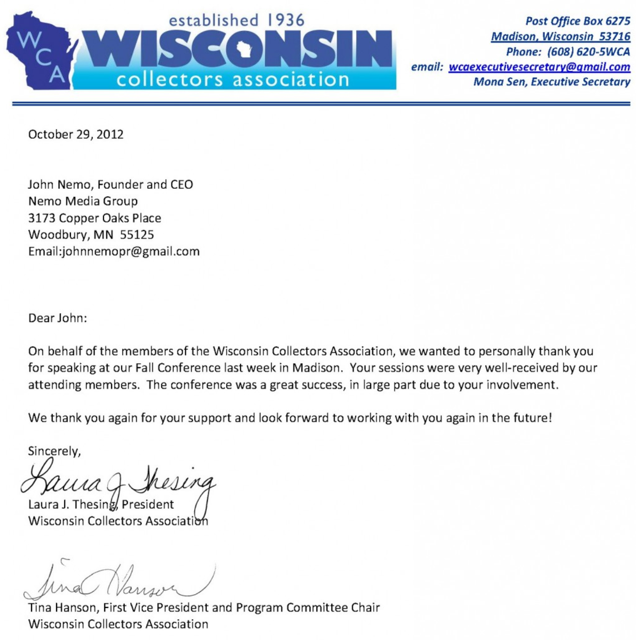 Debt collection marketing consultant john nemo discusses at letter from wisconsin collectors association aljukfo Gallery