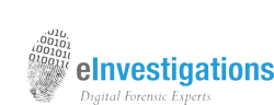 """E-Investigations logo: """"Computer Forensic Experts"""""""