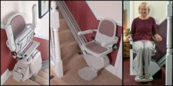 Here is a stairlift installed in a home.  The first picture is the unit folded, second picture is ready to ride, and the third is a user riding the stairlift