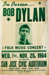 1964 Bob Dylan San Jose Civic Auditorium Concert Poster