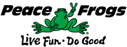 Peace Frogs 'live fun, do good,' logo