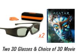 2 Pairs of 3D Glasses with Choice of 3D Movie