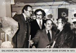 Salvador Dali visiting Astro Gallery of Gems store in 1973