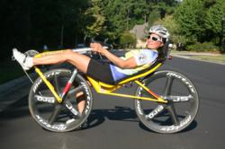Maria Parker on recumbent bicycle