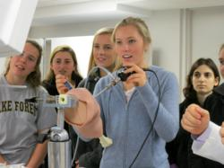 Greenwich Academy students are given hands on experience in arthroscopic research laboratory at the ONS Foundation Lab in Greenwich, CT.