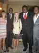 Allison Wagner, Carl Lewis, Art of the Olympians Chairwoman Cathy Oerter, Quinton Aaron and Bernard Bonner