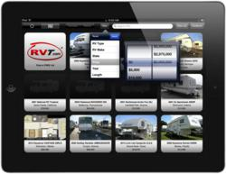 RVT.com RV Classifieds iPad app - showing the new improved price filter selection tool