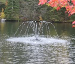 Floating lake fountain by Arbrux Manufacturing