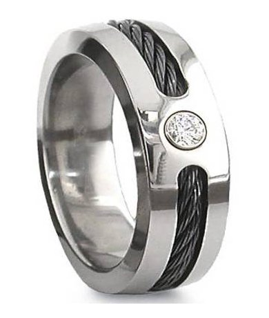 black cable titanium ring with cz mens designer