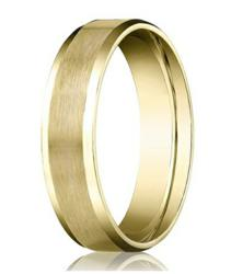 Comfort-fit 14K Yellow Gold Wedding Band with Beveled Edge Satin Finish