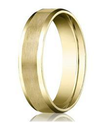 Comfort-fit 14K Yellow Gold Wedding Band with Beveled Edge Satin Finish