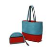 Oceanaire Neoprene Tote in Aqua/Red