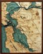 San Francisco Bay Bathymetric Wood Charts