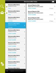 DisclosureNet Mobile - Inbox view