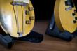 Two vintage guitars on the D&A GIGSTAND™ Electric, portable guitar stand
