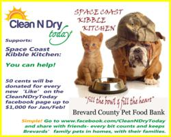 Clean N Dry Today supports Space Coast Kibble Kitchen who provides much needed food to families experiencing financial difficulty so they may keep their pets.
