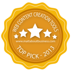 """Web Content Creation Tools – Top Picks for 2013"" Winner's Badge"