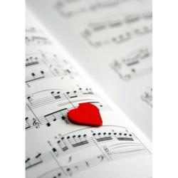 Image of a Heart on a sheet of music