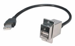 L-com's ECF-style USB Panel-mount adapter with integral USB 2.0 cable and latching type A male