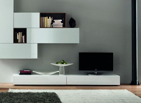 modern shelfstyle center with wall mounted media