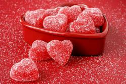 Image of Heart Shaped Gum Drop Candy in a Heart Shaped Bowl
