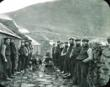 Men on either side of the street forming the St Kilda Parliament in the Village on the island of Hirta, St Kilda. Copyright National Trust for Scotland
