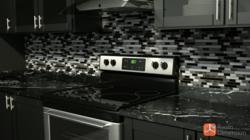 Virtual Kitchen Backsplash using Stainless Steel and Glass Tiles