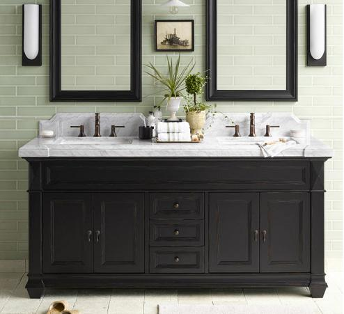 introduces a tip sheet on black and white bathroom