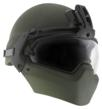 The complete Batlskin Modular Head Protection System with the Batlskin Cobra P2 helmet shell, Batlskin Front Mount, High-Threat Mandible Guard and Visor