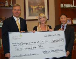 "L-R:  Dr. G.P. ""Bud"" Peterson, President of Georgia Institute of Technology; Harriet Langford, Foundation Trustee; Dr. Yulin Deng, grant recipient"