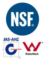 NSF International, JAS-ANZ andj WaterMark Logos