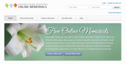 picture of home page of Funeral Home Resource Online Memorials site