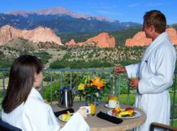 Breathtaking view from a guest room at the Lodge at Garden of the Gods Club in Colorado Springs.