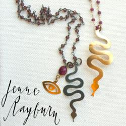 Black Snake With Garnet and Ruby, Chinese Zodiac Pendant By Jenne Rayburn