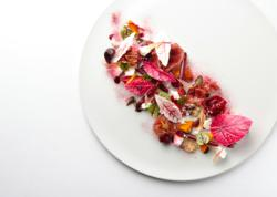 A dish from Chef Uwe Opocensky at the Mandarin Oriental Hotel in Hong Kong, featuring Beet Blush, one of the new Bold Ingredients from The Chef Garden.