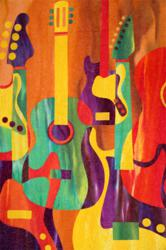 Groovy Guitar Reboot by Robbi Joy Eklowone of the stunning quilts now being displayed at the AccuQuilt Gallery.