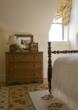 guest bedroom, master bedroom, drapery, antiques, antique bed, custom bedding