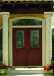 Arden decorative glass on Therma-Tru Fiber-Classic Mahogany door.