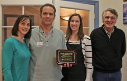 From Left, Christine Ferbrache, Dave Dorsey and Kim Vanlandingham from Dorsey's Hallmark accept the Excellent in Customer Service Award from YSVB Board President Max Stauffer.