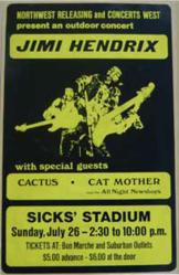 Jimi Hendrix 1970 Sicks Stadium Seattle Concert Poster
