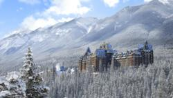 Fairmont Banff Springs Hotel Exterior in Winter