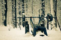Working out in the snow