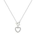 Silver tone heart pendant featuring Pave Clear CZ Heart and Bezel CZ