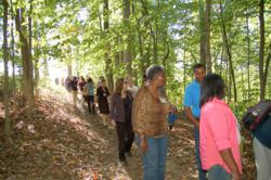Participants on a nature walk at a training in Shepherdstown, W. Va.
